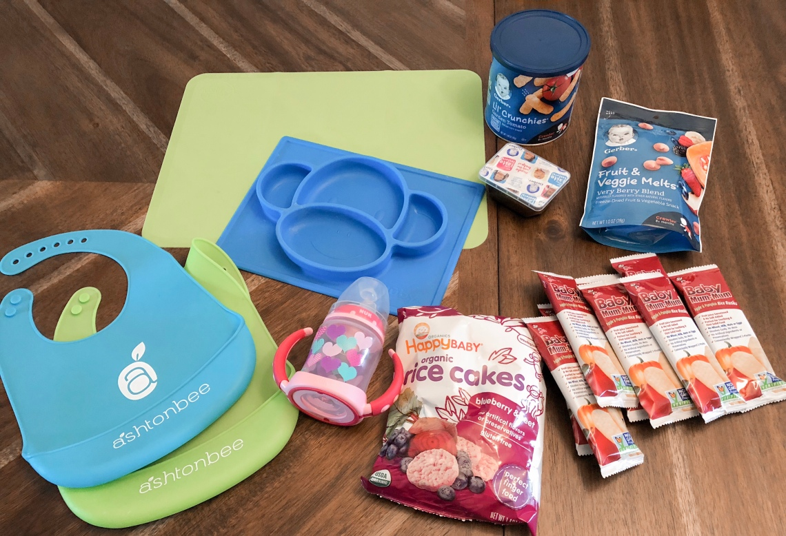 Bibs, placemats and snacks for baby